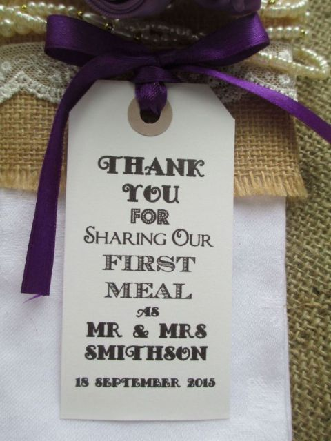 10 Personalised  White Wedding Table Place Setting Tag /Napkin Tie 108 x 54mm
